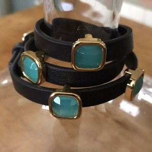 Jewelry - Leather Wrap Bracelet With Aqua Stones